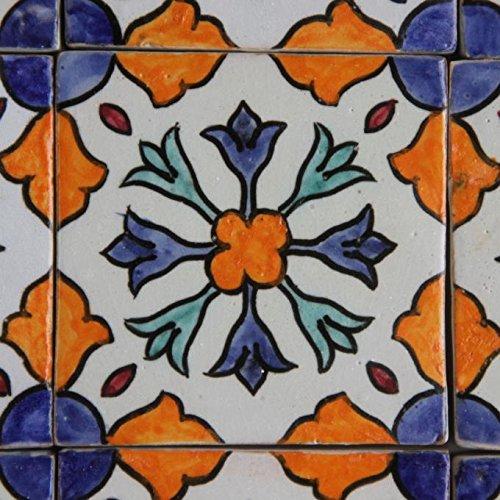 Casa Moro Marokkanische Keramikfliese Aya 10x10 cm bunt handbemalte orientalische Fliese Kunsthandwerk aus Marokko Wandfliese für schöne Küche Dusche Badezimmer   HBF8160