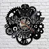 XZXMINGY Steampunk Vinyl Record Reloj de Pared Búho Steampunk Muebles Steampunk Owl Adornos Decoración Engranajes góticos Arte de la Pared Decoración Regalos 12 Pulgadas