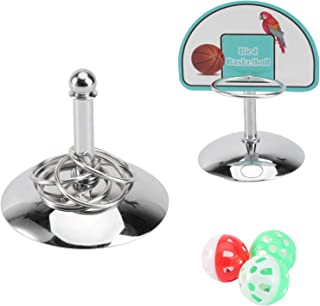 Balacoo 2 Sets Bird Training Toy Set Bird Parrot Trick Tabletop Toys Metal Training Basketball Stacking Ring Toys Sets Cag...