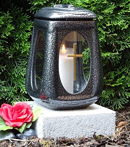 ♥ Grablampe mit Sockel 26,0cm und Grabkerze Grabschmuck-Set Grablaterne Grableuchte Grablicht Laterne Kerze Licht Lampe Herz