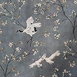 Stoff Meterware Baumwolle Kraniche Kirschblüten grau Vogel