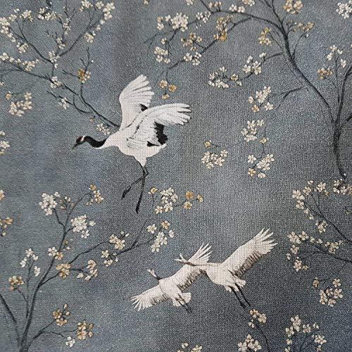 Stoff Meterware Baumwolle Kraniche Kirschblüten grau Vogel Japan Kleiderstoff Dekostoff