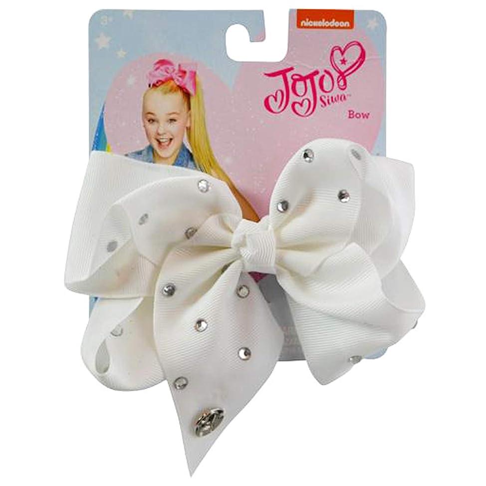 JoJo Siwa Large Cheer Hair Bow (White w/White Rhinestones) gcacrgmq111