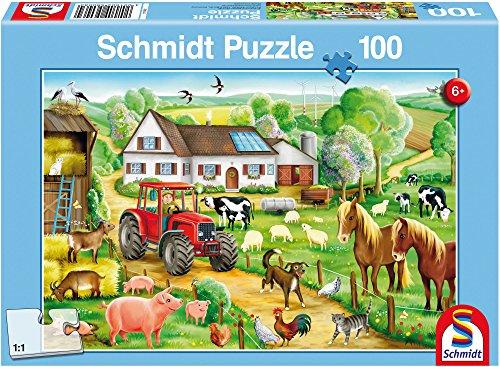 Schmidt Spiele 56003 Fröhlicher Bauernhof, 100 Teile Kinderpuzzle