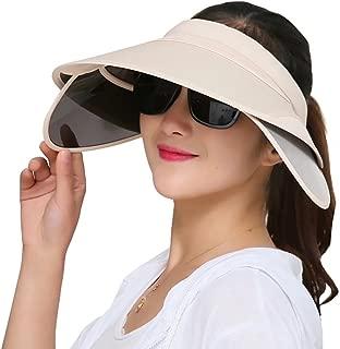 Womens Sun Hats with Retractable Visor Wide Brim Plastic Sun Visor UV Protection Summer Beach Fishing Hat Cap