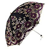 Honeystore Wedding Lace Sun UV Parasol 2 Folding 3D Flower Embroidery Umbrella H7207 Black