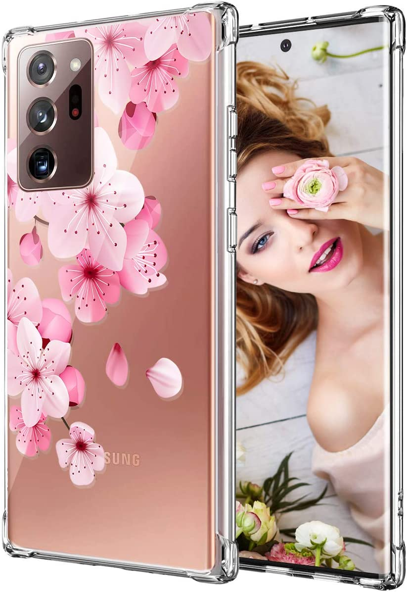 Galaxy Note 20 Ultra Case for Women Girls, Clear Floral Flower Cute Design Hard Plastic Back + Soft TPU Bumper Protective Shockproof Phone Case for Galaxy Note 20 Plus,Pink-Cherry