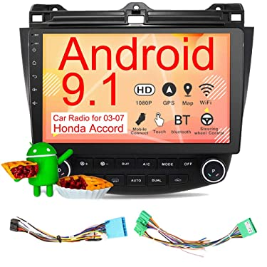 Binize Android 9.1 10 Inch Touch Screen Android Car Multimedia Radio,in-Dash Car Stereo,with GPS Navigation,WiFi,Bluetooth,Mirror Link,USB, for 2003-2007 Honda Accord Stereo Radio (2G RAM+16G ROM)