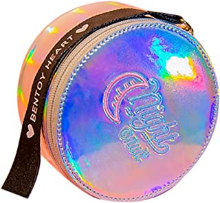 Mini Holographic Purse Embroidery Wallet Fashion Round Handbag Tote with Long Strap for Women Girls