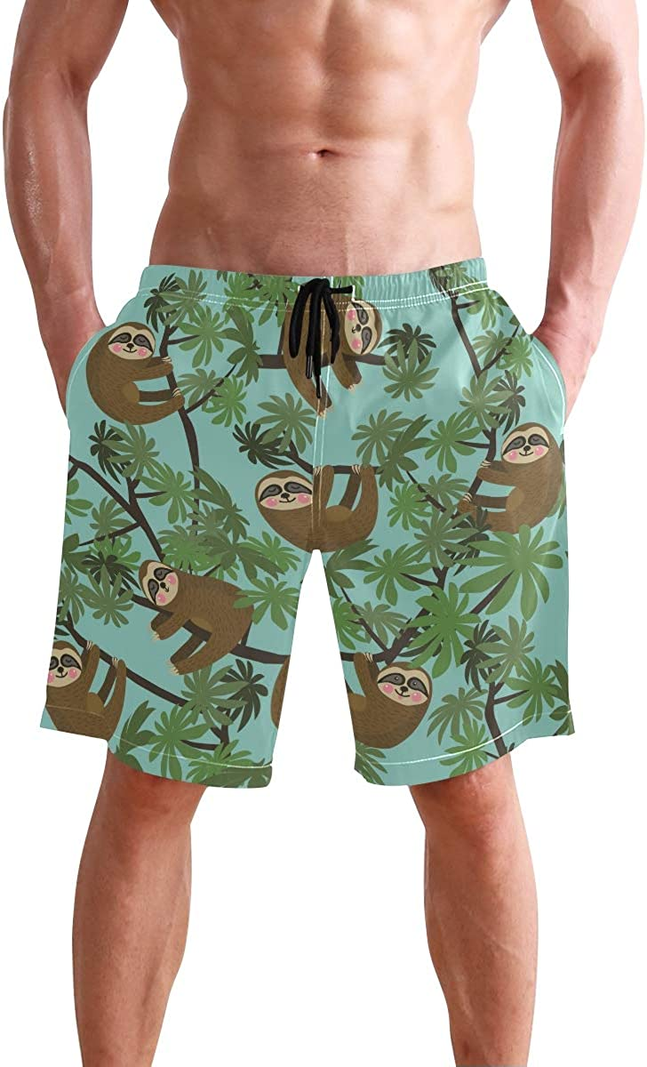 Men's Swim Trunks Sloth On Jungle Quick Dry Beach Board Short with Mesh Lining