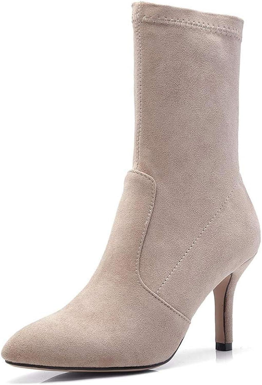 Webb Perkin Women Mid Calf Boots Thin High Heels Elegant Female shoes Elastic Socks Fashion Dress Boots Lady Mid Calf Boots