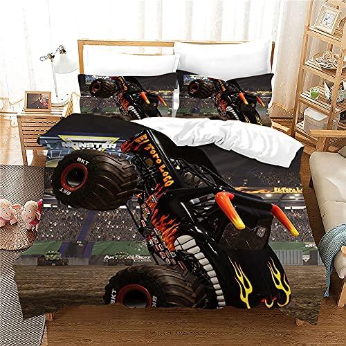 Gabapipa Juego De Cama Estampada Motocross Racing Negro Monstruo Buggy Juego De Funda NóRdica 135 x 200 cm Boys Sports 3D Modern Racing Juego de Funda nórdica para Motocicleta Microfibra 3 Piezas