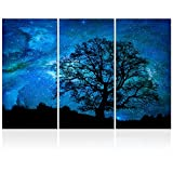 Visual Art Decor Black and Blue Starry Night Tree Silhouette Picture Canvas Prints Wall Art Nature Scenery Landscape Painting for Modern Home Decoration