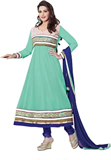 Florence Women's Georgette Straight Salwar Suit Set (SB-1442-Aug2019_Sea Green_One Size)