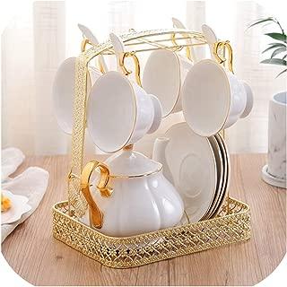ヨーロッパのロイヤルセラミックコーヒーセット家庭用水カップ高品質コーヒーカップ英語アフタヌーンティーカップティーセット、13ピース