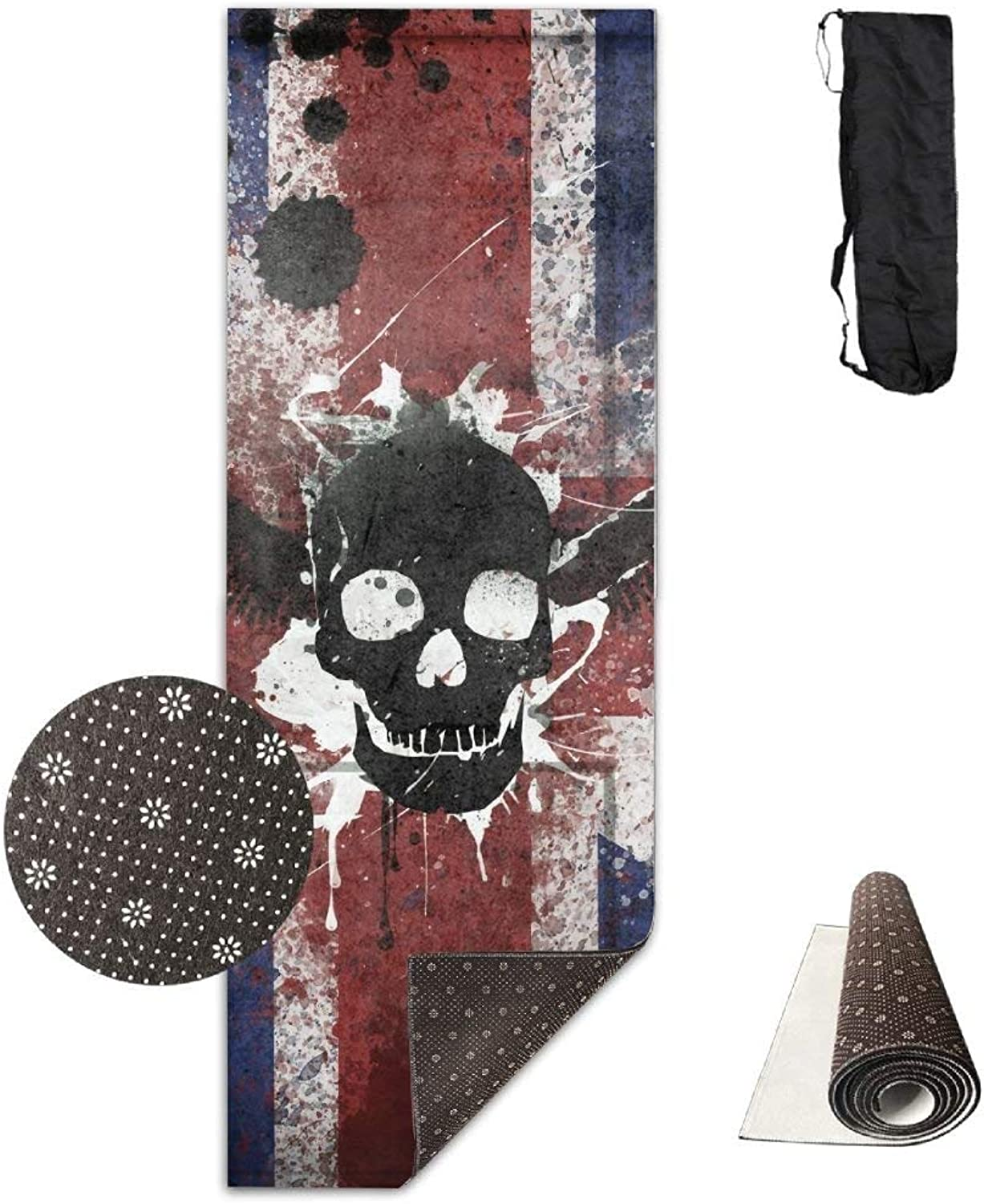 British United Kingdom Pirate Skull Flag Yoga Mat  Advanced Yoga Mat  NonSlip Lining  Easy to Clean  LatexFree  Lightweight and Durable  Long 180 Width 61cm