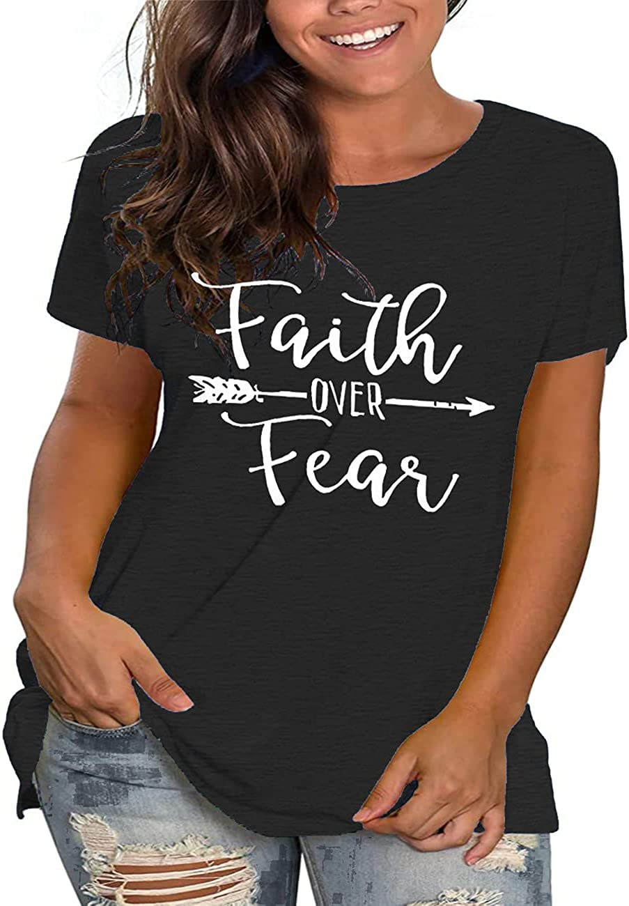 Plus Size Faith Over Fear Shirts Women Christian Tshirts Graphic Tee Summer Tunic Tops