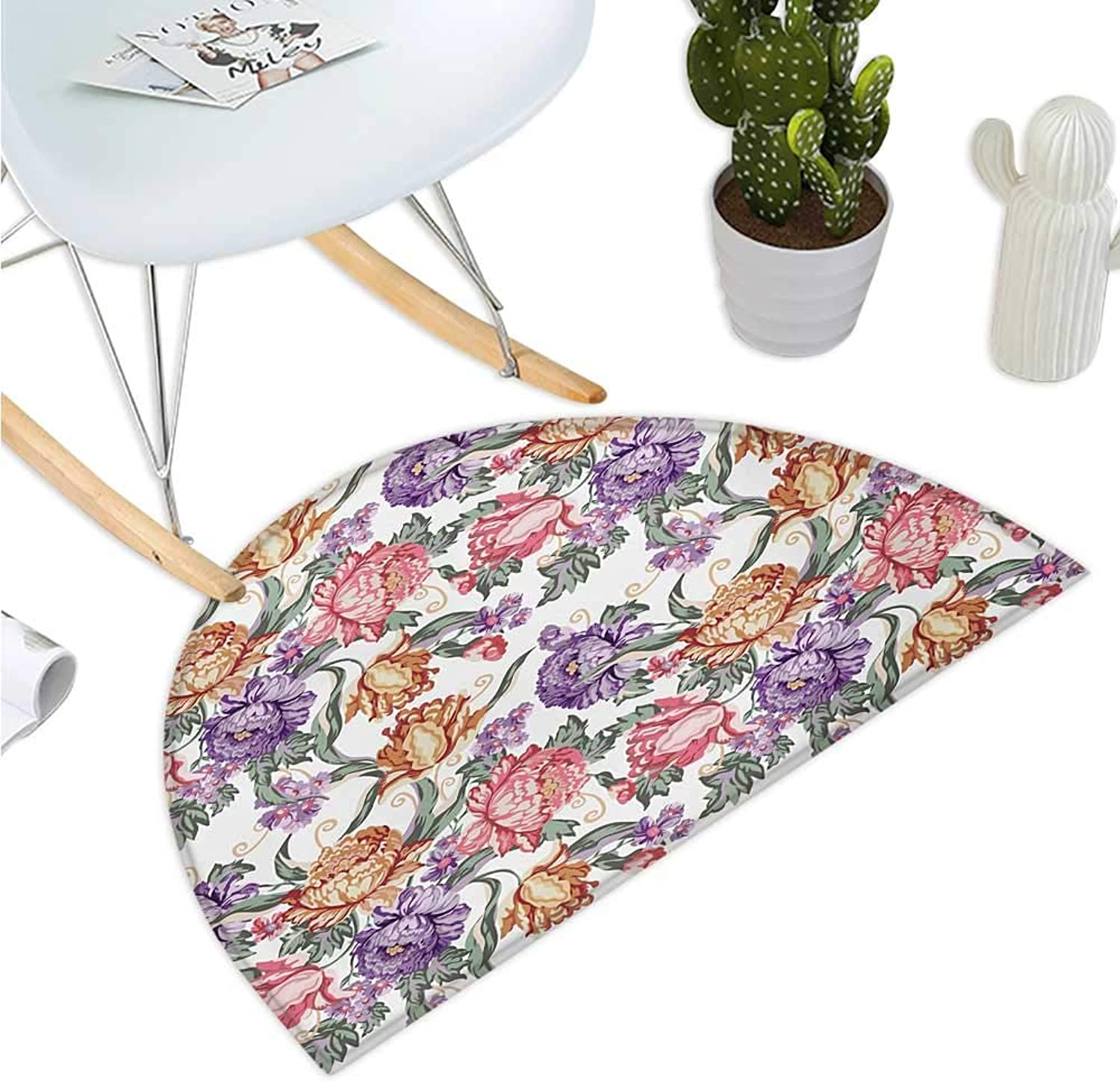 Floral Semicircular Cushion Vintage colorful Flowers and Curls on White Background Romantic Spring Pattern Print Bathroom Mat H 39.3  xD 59  Multicolor