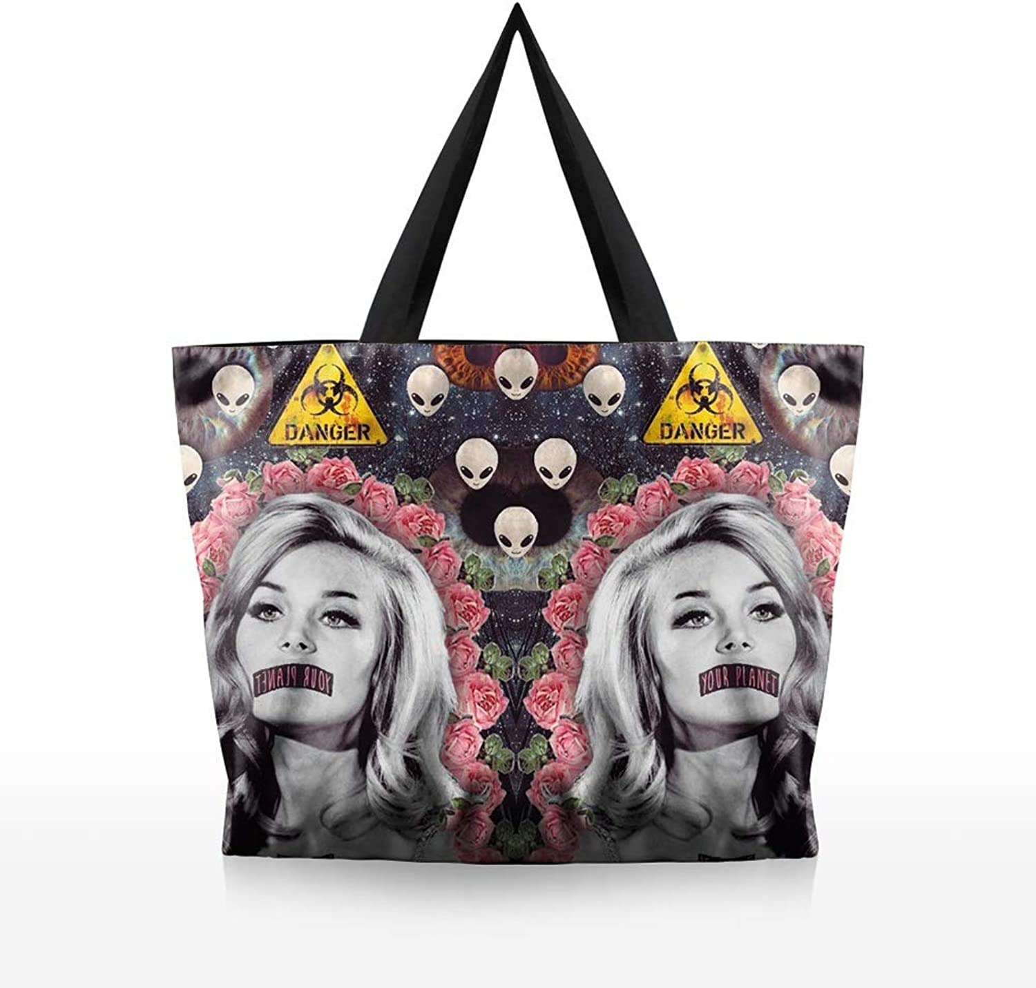 Womens Hobos and Shoulder Bags Girls Bookbag Tote Bag, Reusable Shopping Bags  EcoFriendly Foldable Grocery Bags for Shopping Organizing for Youth (color   Picture color, Size   34cm9cm33cm)