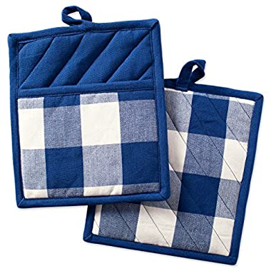 DII Cotton Buffalo Check Plaid Pot Holders with pocket, 9x8  Set of 2, Heat Resistant Pocket Mitts for Home Kitchen Cooking and Baking, Mother's day, Holidays, Hostee & Housewarming Gift-Navy & Cream