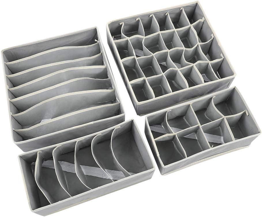 #1 Drawer Divider,Foldable Wardrobe Closet Organizer Underwear Storage Box for Home Bedroom Drawer Divider Kit Set of 4