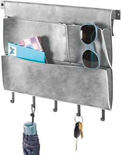 mDesign Decorative Wall Mount Soft Leather Hanging Storage Organizer Mail Sorter, Letter Holder, Key Rack for Entryway, Bedroom, Home Office, Dorm Room - 3 Pockets, 5 Hooks, 17.5