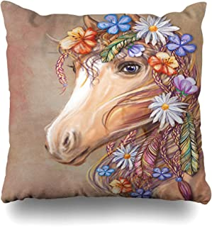 Ahawoso Throw Pillow Cover Nomad Boho Digital Horses Head Flowers Feathers Adult Bohemian Chic Pattern Unicorn Abstract Horse Decorative Pillow Case 18x18 Inches Square Home Decor Pillowcase