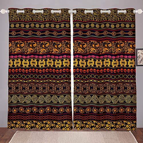 Tbrand Bohemian Windows Drapes Boho Southwestern Curtains for Bedroom Living Room for Kids Boys Girls Stripe Curtains Vintage Antique Brown Room Decoration,W46*L54
