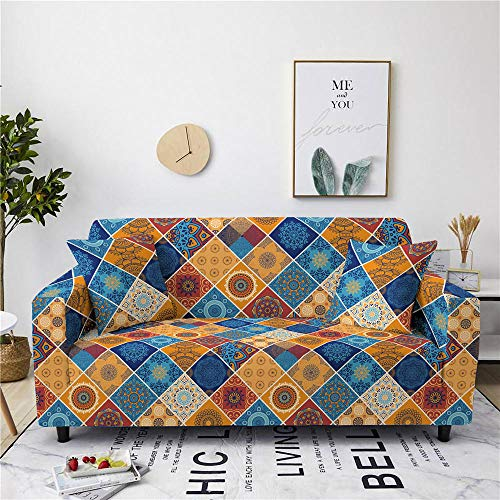 Sofa Cover Stretch Elastic Blue Yellow Plaid Printed Sofa Slipcover 4 Seater Polyester Spandex Furniture Decorative Soft Loveseat Couch Covers Chair Protector for Pets Kids Sofa Covers