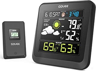 Govee Wireless Weather Station with Color LCD Display, Weather Forecast Station with Outdoor Sensor, Digital Temperature and Humidity Gauge with Alarm Clock, Moon Phase, Backlight, Sooze Mode