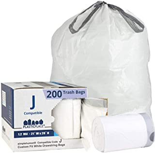 Plasticplace Custom Fit Trash Bags │ Simplehuman Code J Compatible (200 Count) │ White Drawstring Garbage Liners 10-10.5 Gallon / 38-40 Liter │ 21