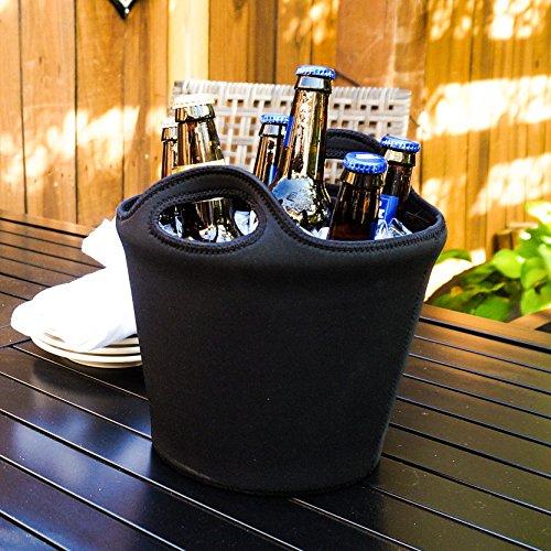 BREKX Sweat-Proof Galvanized Metal 5QT Ice Bucket w/ Insulated Neoprene exterior