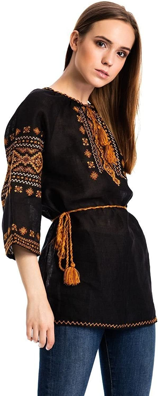 ETNODIM Ukrainian Ethnic Embroidered Linen Shirt Vyshyvanka Handmade Sleeve Style 3 4 Sleeve Black Blouse