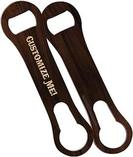 BarConic Customizable V-Rod Bottle Opener - Dark Wood Design