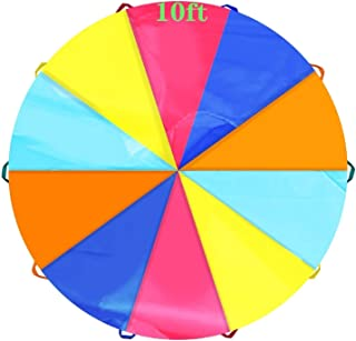 SupinefoxUS 6ft Play Parachute with 8 Handles Multicolored Parachute for Kids, 6ft/10ft/20ft Kids Play Parachute for Indoo...