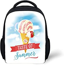 iPrint Kids School Backpack Ice Cream Decor,The Taste of Summer Quote with Cone and Strawberry Clouds Inspiration Print Decorative,Multicolor Plain Bookbag Travel Daypack