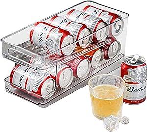Refrigerator Drink Can Holder Storage Bin Organizer Can Dispenser Stackable Front Loading Shelf Beverage Rack Holder for Kitchen Storage Double Layer Rack