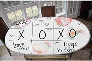 LCGGDB Xo Housse de table élastique en polyester avec inscription Love You Hugs Kisses Aquarelle Motif cœurs