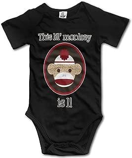 Red And Brown Sock Monkey First Birthday Boy's Baby Onesie Romper