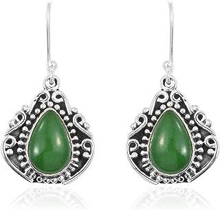 Pendientes de ónix verde pera, pendientes de gota, pendientes colgantes, pendientes de plata de ley 925 para mujer Sterling Silver Drop Earrings