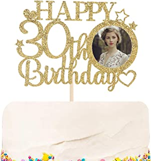Halodete Glitter Happy 30th Birthday Cake Topper with Photo Frame - Hello Dirty Thirty - 30th Birthday Party cake decorati...