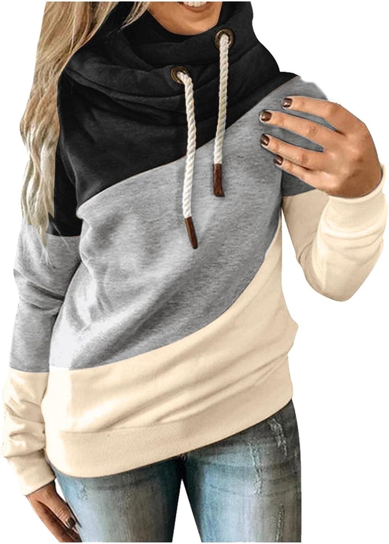 Haheyrte Women Turtleneck Hoodies Color Block Hooded Sweatshirts Casual Loose Drawstring Pullover Tops