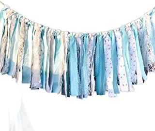 CIEOVO Fabric Burlap Lace Tassel Garland Vintage Garland Banner Floral Print Decor Rustic Wedding Parties Baby Shower Decorations Background Ornaments Wedding Decorations