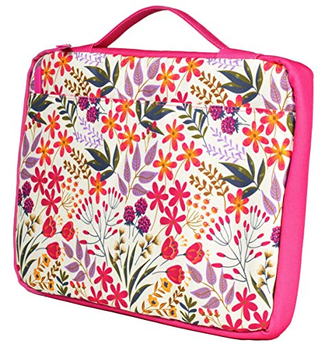 Padded Protective Laptop Bag for Women Teen Girls, Computer Case Fits Up to 15 Inch Laptop PC and MacBook Pro, Cute Pink Floral Tech Sleeve with Zip Close and Carrying Handle, Wildflowers