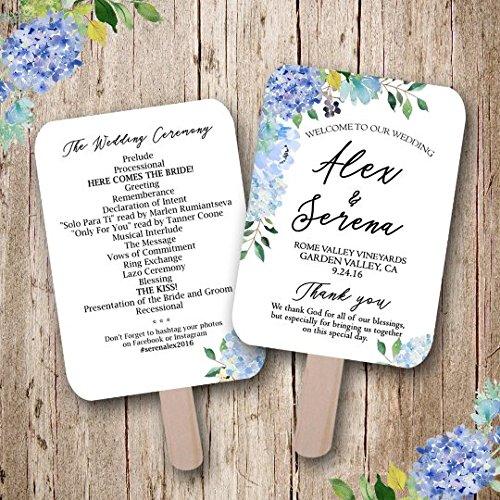 Hydrangea wedding, Blue Wedding, Floral Wedding Program, Summer Wedding, Wedding fan, wedding favors, rustic wedding fan, handmade, wedding fans personalized, Sold in sets of 10