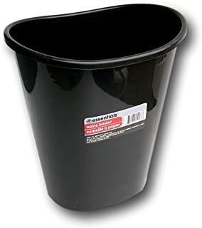 Greenbrier International Essentials Black Plastic Oval Wastebasket - 7 Qt.