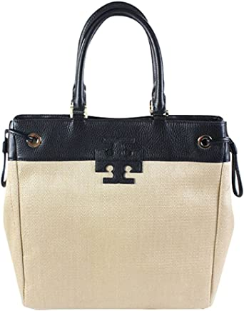 08c7b24213067 Tory Burch Straw Stacked T Logo North South Tote Natural Black