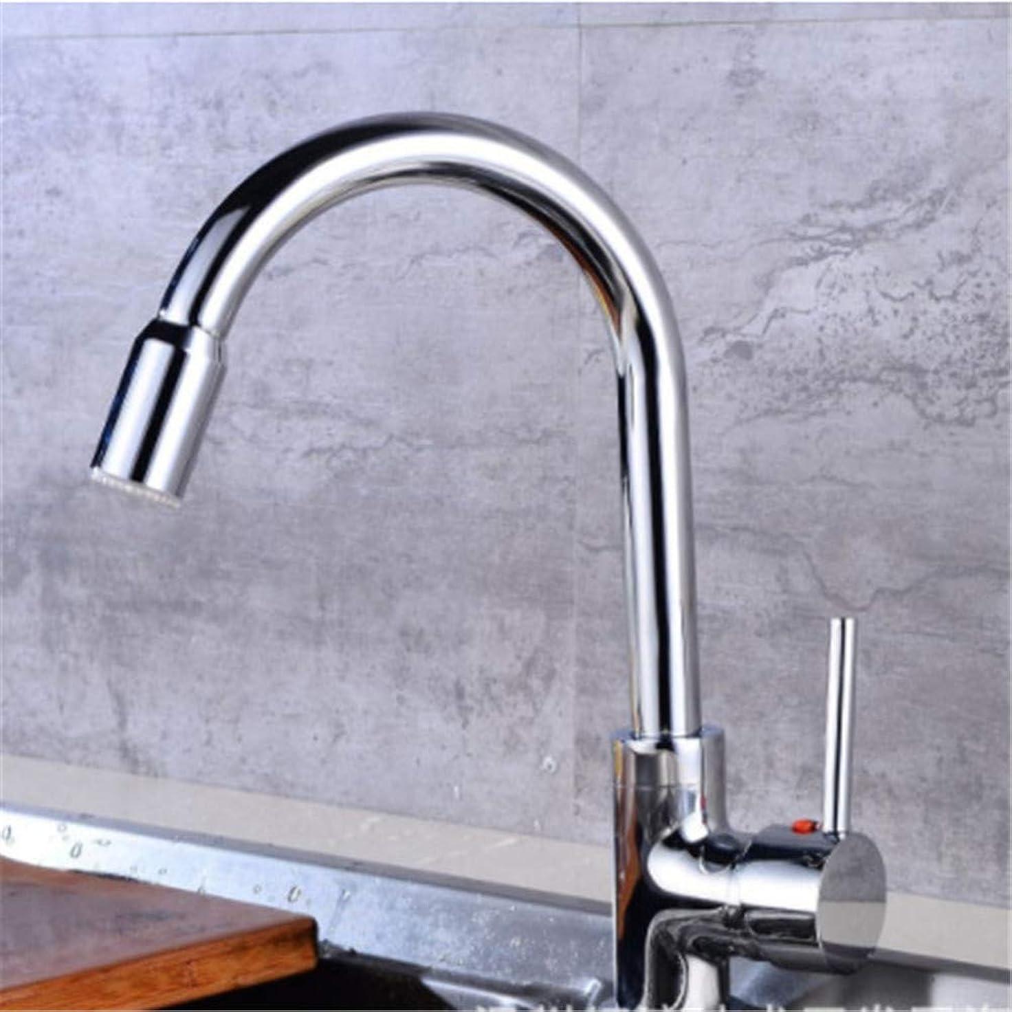 スキャン変換たっぷりLED水蛇口、3色のLEDライトの変更蛇口シャワー水タップ温度センサーLEDライト蛇口バスルーム/キッチン