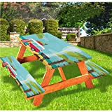 """Explore Picnic Table With Benches Covers,Caravan Camping with Barbeque and Surf Boards Tropical Beach Banana Coconut Trees 72"""" Elastic Edge Fitted Tablecloth Set For Parties Outdoor,Multicolor"""