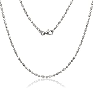 NYC Sterling Italian Moon Cut Oval and Round Bead Chain in Solid Sterling Silver